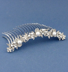 BRIDAL SHOWER SILVER CLEAR HAIRCOMB