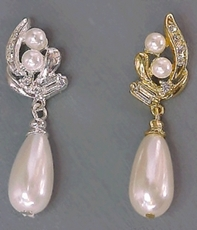 MELODY FAUX IVORY-GOLD PEARL EARRINGS - 2 PAIR REMAINING