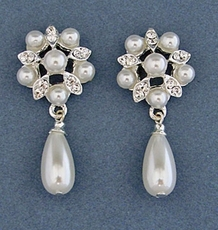MORNING GLORY WHITE FAUX PEARL EARRINGS