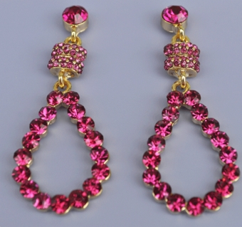 ROSALINE FUCHSIA RHINESTONE EARRINGS