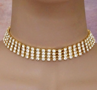 RHINESTONE ROMANCE GOLD CHOKER SET<BR> 2 SETS REMAINING