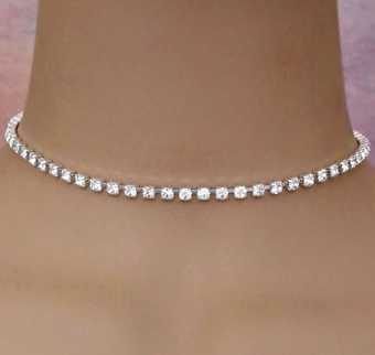 SINGLE STRAND SILVER STIFF <BR>RHINESTONE SET