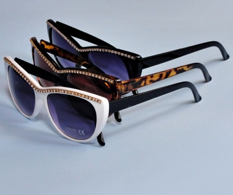 NADIA UV PROTECTION <BR>RHINESTONE SUNGLASSES