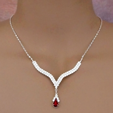 ELEGANT DROP RED RHINESTONE JEWELRY SET
