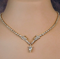 DYCO CLEAR ON GOLD RHINESTONEJEWELRY SET<br>ONLY TWO REMAINING  SETS