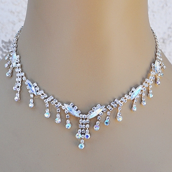 DRIZZLE RHINESTONE JEWELRY NECKLACE AND EARRINGS SET