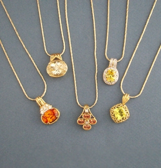 YELLOW-ORANGE CZ PENDANTS