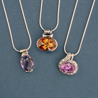 CZ PENDANT ON SILVER CHAIN - LIMITED SUPPLY AND COLOR CHOICE