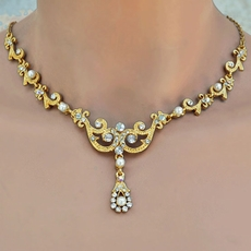 ANNABELLE WEDDING GOLD-IVORY NECKLACE SET