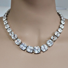 CUBIC ZIRCONIA CZ JEWELRY IN A ROW NECKLACE AND EARRINGS SET