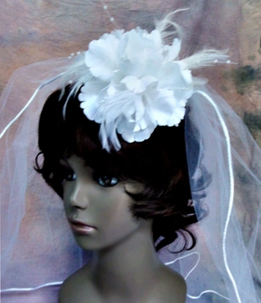 WHITE SILK FLOWER WEDDING HAIRCLIP-PIN