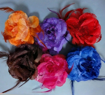 SPRING FLOWER SILK FLOWER PINS