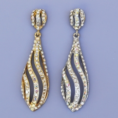 CURVED PALLETTE CHANDELIER RHINESTONE EARRINGS