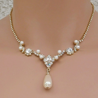 LOOK OF LOVE IVORY FAUX PEARL GOLD BRIDAL JEWELRY SET