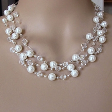 CRYSTAL SWIRL WHITE WEDDING JEWELRY SET