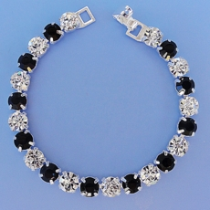 LUXURY BLACK-CLEAR  RHINESTONE BRACELET