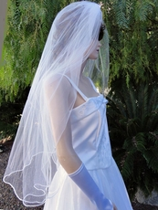 SHEER ELEGANCE TWO-TIERED WEDDING VEIL - IVORY OR WHITE