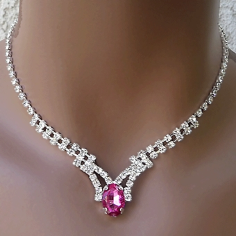INTENSE FUCHSIA RHINESTONE<BR>JEWELRY SET