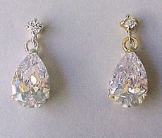 LOLLIPOP CZ CUBIC ZIRCONIA CRYSTAL EARRINGS - SILVER OR GOLD BACKING