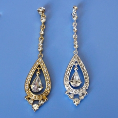 PERFECT DAY RHINESTONE LONG DANGLING EARRINGS