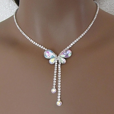 FLIGHTY BUTTERFLY CLEAR-AB NECKLACE AND EARRINGS SET