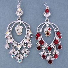 PERSONALITY RED RHINESTONE EARRINGS - CLEAR AB SOLD OUT