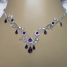 SOFIA PURPLE RHINESTONE NECKLACE SET<br>TEMP SOLD OUT