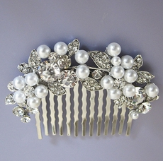 HALF MOON RHINESTONE AND FAUX PEARL WEDDING HAIRCOMB