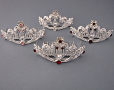 CRYSTAL LIGHT SMALL RHINESTONE TIARA -  RED ON SILVER, PURPLE ON SILVER