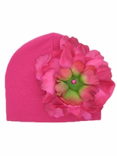 Jamie Rae Raspberry Cotton Hat w/ Raspberry Peony