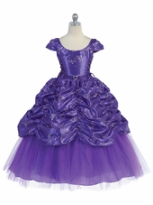 Purple Taffeta Embroidered Cinderella Dress