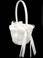 White Woven Fabric w/Embroidered Rhinestone Flower Girl Basket