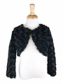 Capes and Jackets - Black Faux Fur Rosette Bolero