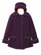 Girls Purple Fleece Jacket with Flowers