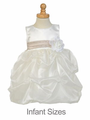 Pink/White Flower Girl Dress - Matte Satin Bodice w/ Gathers