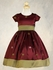 Burgundy Flower Girl Dress - Polka Dot Embroidered Taffeta w/ Sleeves