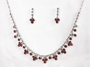 Burgundy Rhinestone w/ Swarovski Crystal Earrings & Necklace Set