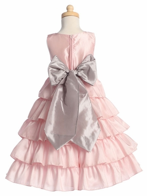 Blossom Pink Sleeveless Taffeta Bodice Layered Skirt Detachable Sash