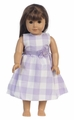 "Cotton Gingham Checked Dress for 18"" Doll"