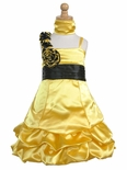 Yellow Satin Gathered Bubble Dress w/ Two Tone Flower