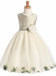 Sage Flower Girl Dress - Shantung Bodice w/ Tulle Skirt