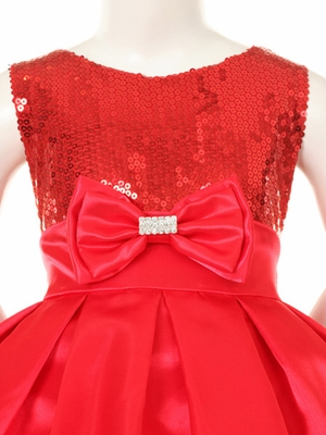 Silver Sequins Bodice w/Satin Skirt & Rhinestone Double Bow Pin