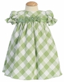 Sage/White Cotton Gingham Checked Baby Dress