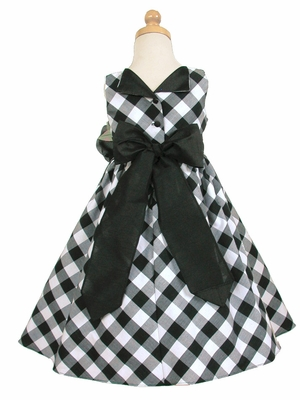 Sage/White Cotton Gingham Checked Dress