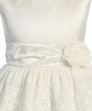 Ivory Taffeta Dress w/ Lace Overlay