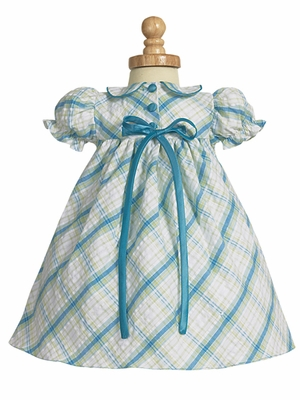 Teal Seersucker Baby Flower Girl Dress