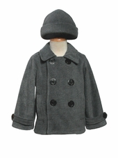 Boys Grey Fleece Peacoat