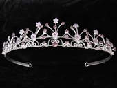 Lilac Headpiece Tiara w/Flower Design Rhinestones
