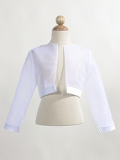White Sheer Organza Bolero w/ Satin Trim