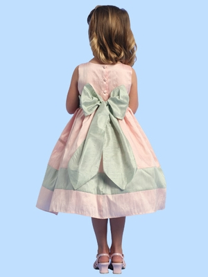 Blossom Pink Silk Dress w/ Bow Tie Accents